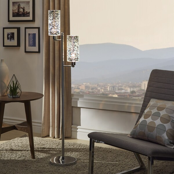 iNSPIRE Q Bold Gemini Starburst Chrome 2-light Floor Lamp