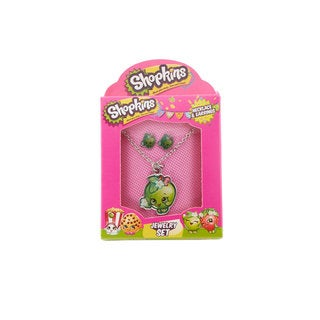 Shopkins Apple Blossom Pendat on Chain with Matching Stud Earrings