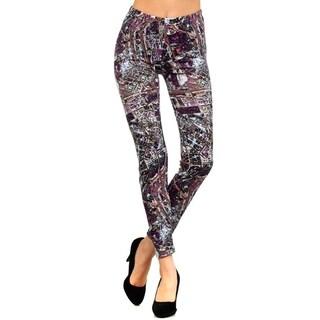 Women'S Purple Space Junk Printed Leggings