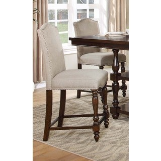 Best Master Furniture Burlap Upholstered Wood Counter Height Chair (Set of 2)