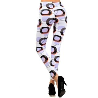 Women'S White Background Dark Oval Shape Printed Leggings