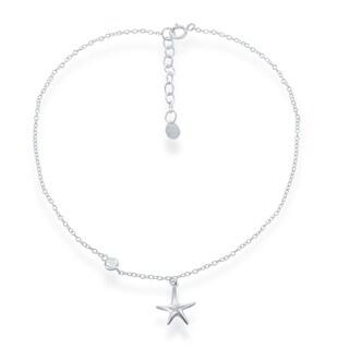 La Preciosa Sterling Silver Italian Zirconia Starfish Cable Anklet Bracelet