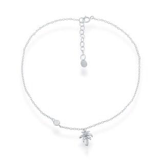 La Preciosa Sterling Silver Italian Cubic Zirconia Palm Tree Anklet Bracelet