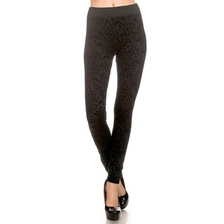 Flocked Black French Swirl Leggings