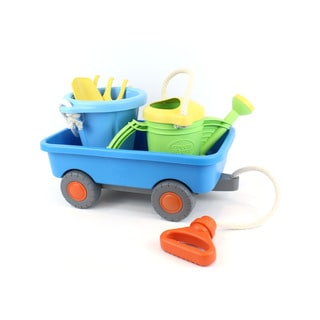 Green Toys Wagon Deluxe Set w/ Watering Can, Sand Bucket, Rake & Shovel - COLORS VARY