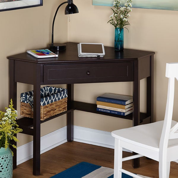 Simple Living Espresso Corner Writing Desk
