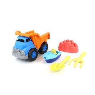 Green Toys Sand & Water Deluxe Play Set: Dump Truck w/ Boat, Shovel & Rake.