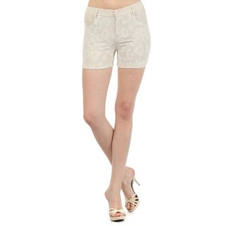 Lady'S Leapord Safari With Solid Color Blocks Fashion Shorts