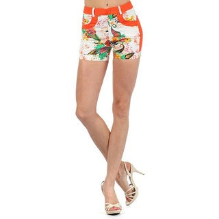 Lady'S Pressly Floral Design With Solid Color Blocks Fashion Shorts