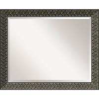 Bathroom Mirror Large, Intaglio Embossed Black 33 x 27-inch