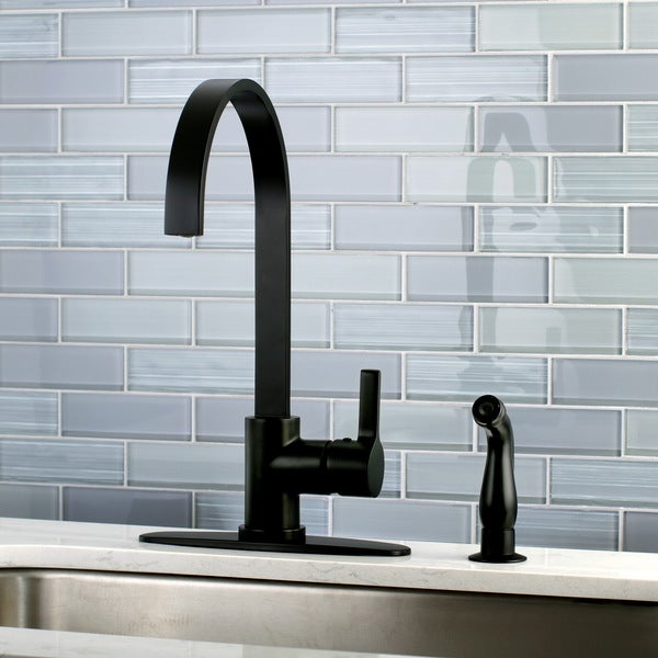 Shop Modern Black Centerset Kitchen Faucet With Side Sprayer Free