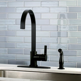 Modern Black Centerset Kitchen Faucet with Side Sprayer