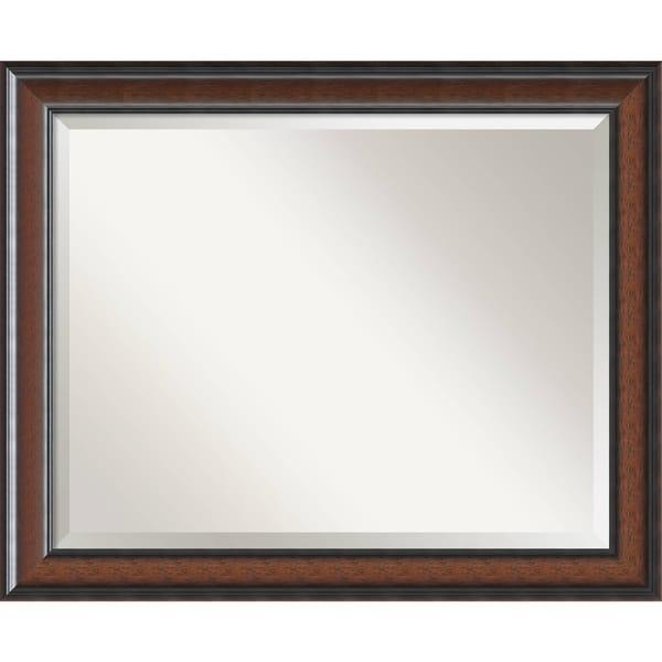 Bathroom Mirror Large, Cyprus Walnut 33 x 27-inch
