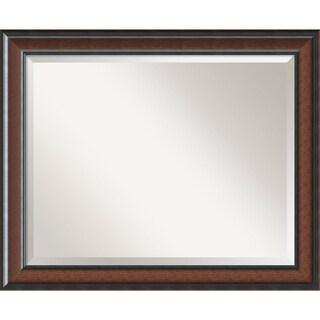 Bathroom Mirror Large, Cyprus Walnut 33 x 27-inch