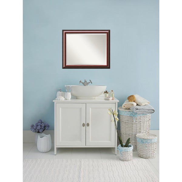 Bathroom Mirror Large, Cambridge Mahogany 33 X 27 Inch   Free Shipping  Today   Overstock.com   21829237