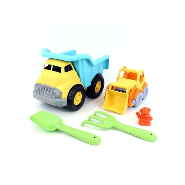 Green Toys Sand & Water Deluxe Play Set: Dump Truck w/ Scooper, Shovel & Rake