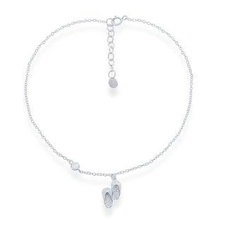 14k Rose Gold Over 925 Sterling Silver Round Cut Cubic Zirconia I LOVE U 6 Adjustable Anklet Bracelet