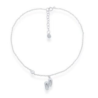 La Preciosa Sterling Silver Cubic Zirconia Italian Cut Flipflop Anklet Bracelet