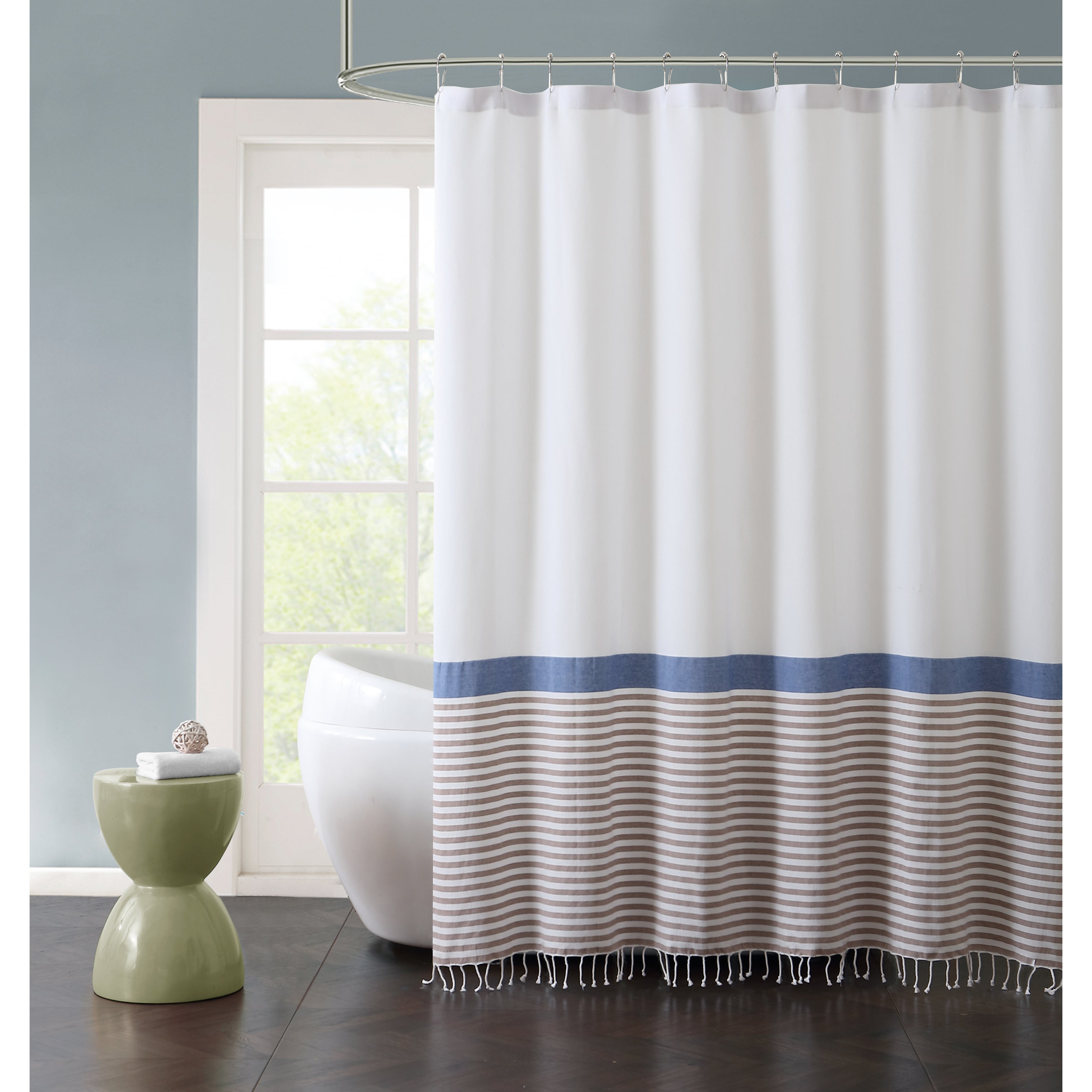 Vcny Home Hugo Striped Fringed Cotton Shower Curtain (Blu...