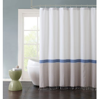 VCNY Home Hugo Striped Fringed Cotton Shower Curtain