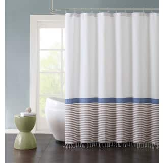 teal striped shower curtain. VCNY Home Hugo Striped Fringed Cotton Shower Curtain Blue  Stripe Curtains For Less Overstock com Vibrant