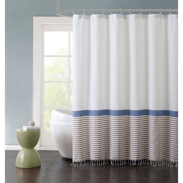 VCNY Home Hugo Striped Fringed Cotton Shower Curtain - Free ...