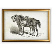 Equine Plate II - Gold Frame