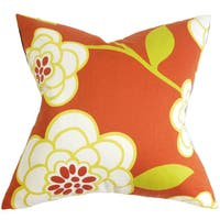 "Junot Floral 24"" x 24"" Down Feather Throw Pillow Orange"