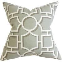 """Ono Geometric 24"""" x 24"""" Down Feather Throw Pillow Gray"""