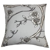 Tadita Floral 24-inch Down Feather Throw Pillow Gray