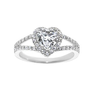 14k White Gold 1 3 8ct TGW Heart Cut Cubic Zirconia Engagement Ring