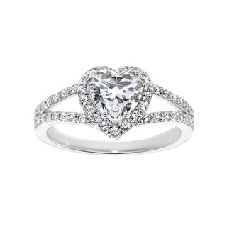 14k White Gold 1 3/8ct TGW Heart-cut Cubic Zirconia Engagement Ring