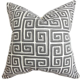 Klemens Geometric 24-inch Down Feather Throw Pillow Gray