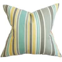 Manila Stripe 24-inch Down Feather Throw Pillow Gray
