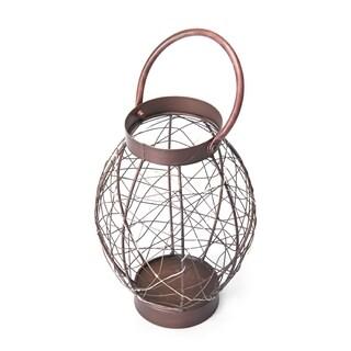 Elements 10in BrownOval Led String Lantern