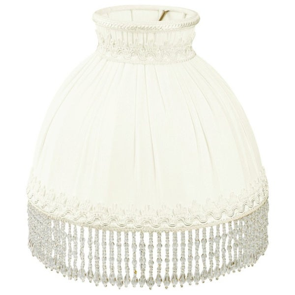 Royal Designs White Beaded Domed Designer Lamp Shade, 3.5 x 8 x 7