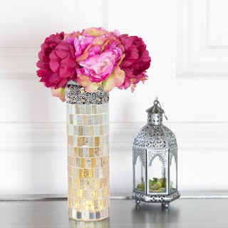 "10.75""H Beaded Mosaic LED Lit Vase - Pink/Purple"