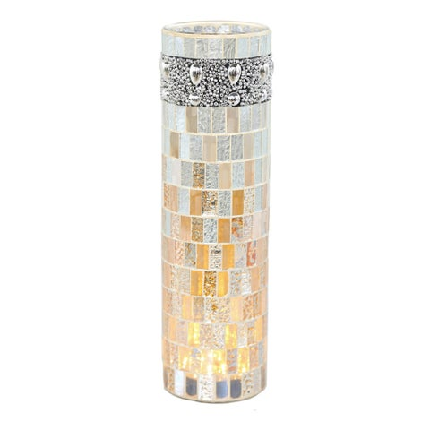 "10.75""H Beaded Mosaic LED Lit Vase - Pink/Purple"