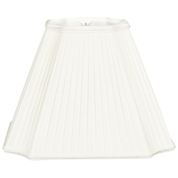 Royal Designs Inverted Cut Corner Pleated White Designer Lamp Shade