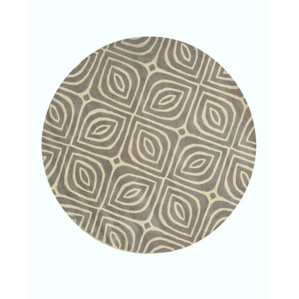 EORC Hand-tufted Grey Wool Contemporary Geometric Marla Rug (7'9' Round) - 7'9 x 7'9