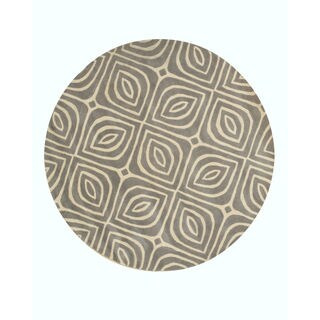 EORC Hand-tufted Grey Wool Contemporary Geometric Marla Rug (7'9' Round)