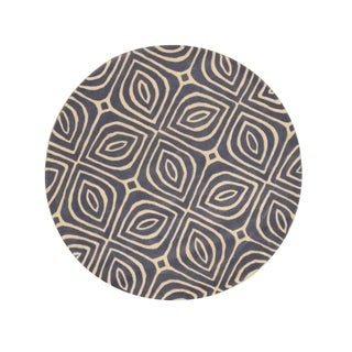 EORC Contemporary Geometric Marla Blue Wool Hand-tufted Round Rug (7'9) - 7'9 x 7'9