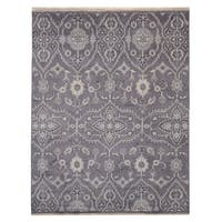 Hand-knotted Wool Gray Oushak Rug (9' x 12')