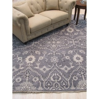 EORC Hand-knotted Oushak Monochrome Grey Wool Traditional Oriental Rug (8' x 10')