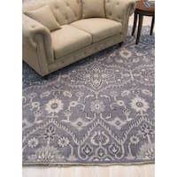 EORC Hand-knotted Oushak Monochrome Grey Wool Traditional Oriental Rug - 8' x 10'