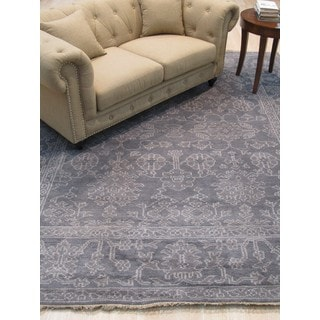 EORC Oushak Grey and Ivory Wool Hand-knotted Oriental Rug (8'x10')