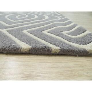 EORC Marla Contemporary Geometric Grey Wool Hand-tufted Rug (9'6 x 13'6)