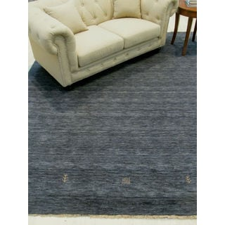 EORC Handmade Charcoal Wool Traditional Solid Lori Baft Rug (8' x 10')