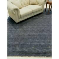 EORC Handmade Charcoal Wool Traditional Solid Lori Baft Rug (8' x 10') - 8' x 10'