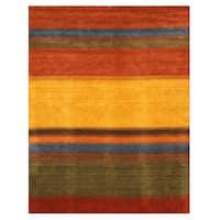 Handmade Wool Contemporary Stripe Gabbeh Rug (9' x 12') - 9' x 12'